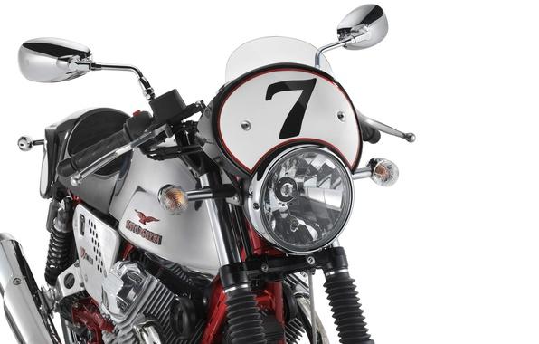 Picture white, motorcycle, 2010, moto, background., motorbike, Nakes, Guzzi, V7 Racer