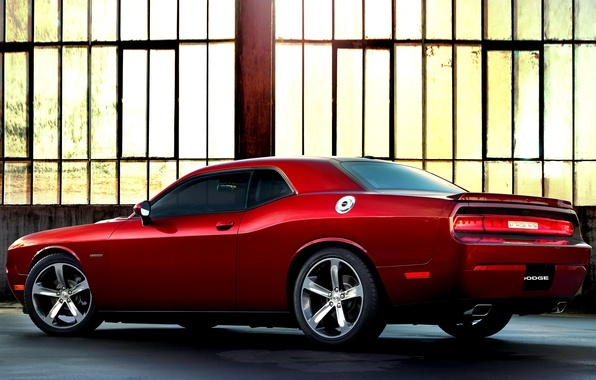 Picture Red, Challenger, Dodge, Dodge, Challenger, Red, Hangar, Car, Car, Automobiles, 2014, Fast, 100th Anniversary