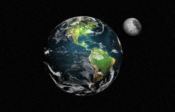 Picture space, planet, satellite, stars, The moon, Earth