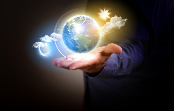 Photo wallpaper earth, the universe, planet, ball, hand, male
