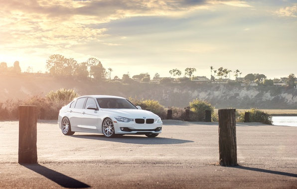 Picture Sunset, BMW, White, BMW, 328i, F30, Sedan
