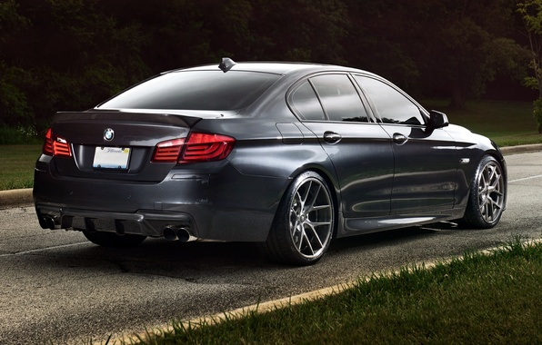 Picture road, grass, trees, background, black, tuning, BMW, BMW, Sedan, rear view, tuning, Sedan, 5 Series, ...