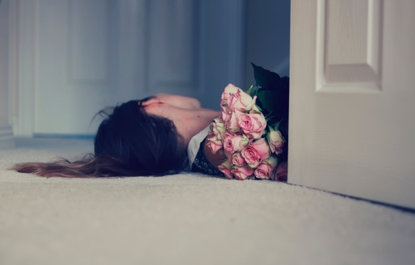 Picture girl, roses, bouquet