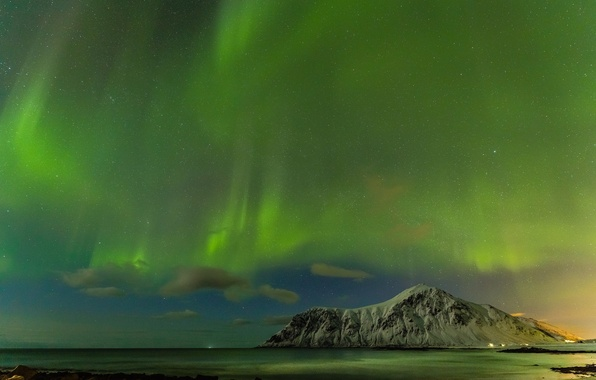 Picture sea, stars, mountains, night, Northern lights, Iceland