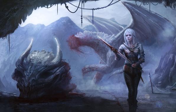 Photo wallpaper dragon, Cirilla, girl, Witcher 3: Wild Hunt, art, skull