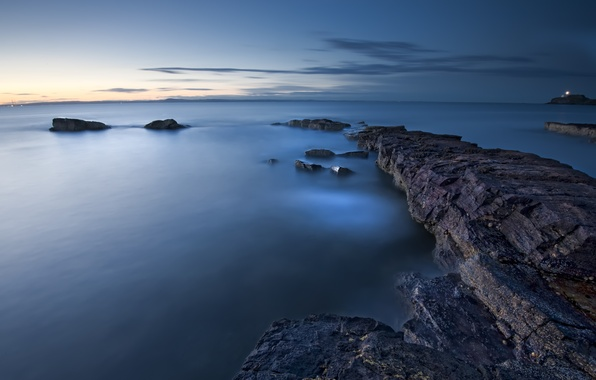 Picture sea, the sky, clouds, sunset, surface, blue, England, the evening, UK, calm, rocky shore
