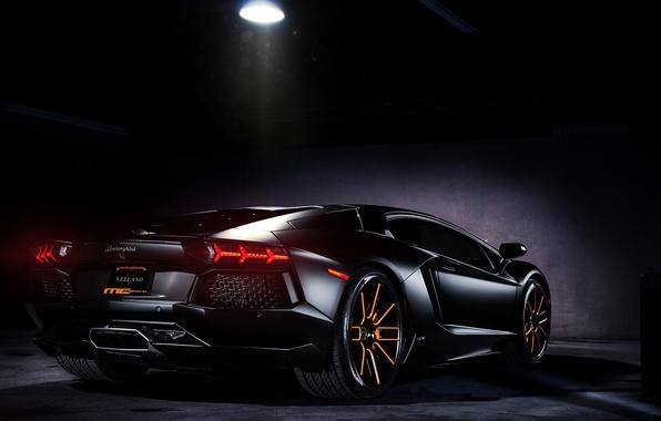 Picture light, lamp, shadow, lamborghini, black, back, headlights, aventador, lp700-4, Lamborghini, aventador