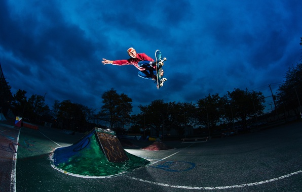 Picture stars, clouds, light, night, jump, skateboarding, skateboard, extreme sports