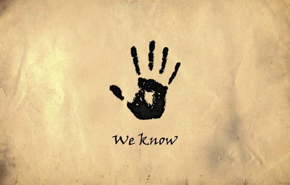 Picture minimalism, palm, imprint, skyrim, dark brotherhood, the dark brotherhood, we know, we know