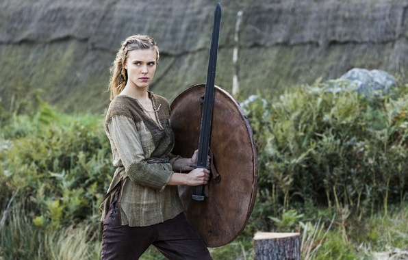Picture sword, the series, shield, warrior, virgin, Vikings, The Vikings, Gaia Weiss, Jaya Weiss, Porunn