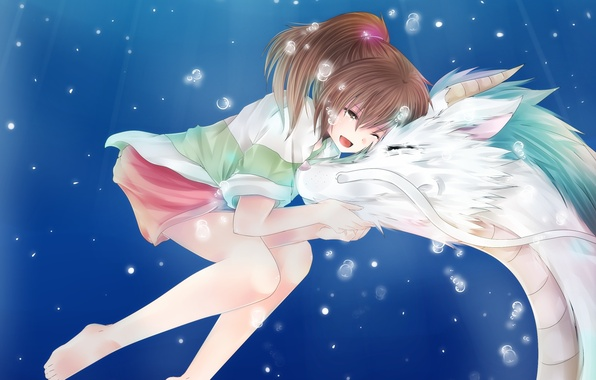 Picture bubbles, dragon, anime, art, girl, Hayao Miyazaki, under water, spirited away, Chihiro, Haku, the spirit …