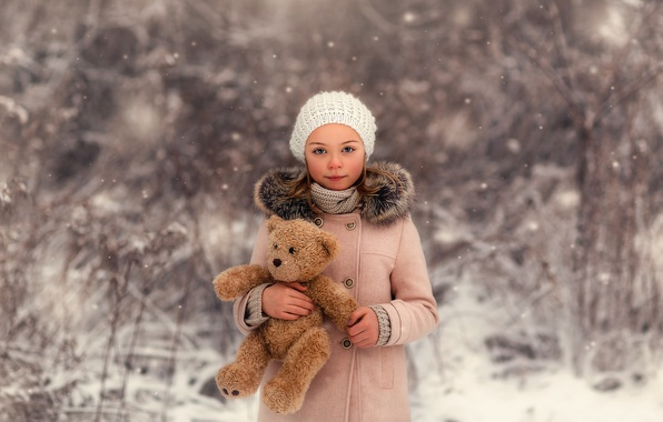 Picture snow, bear, girl, the beauty, Lorna Oxenham, Winter Beauty
