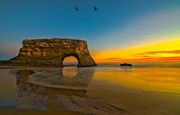 Picture sea, landscape, rock, shore, coast, arch, rasvet