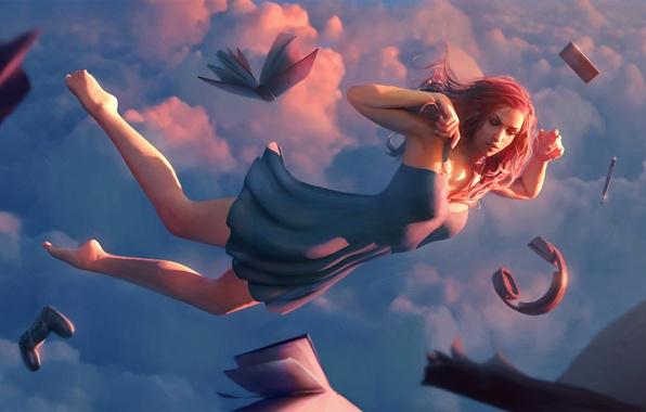 Picture the sky, girl, clouds, sleep, headphones, dress, book, art, gamepad