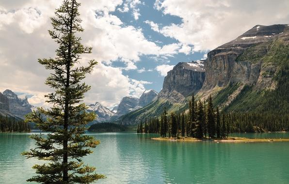 Picture the sky, clouds, trees, mountains, lake, island, Canada, Albert, Jasper, Maligne Lake