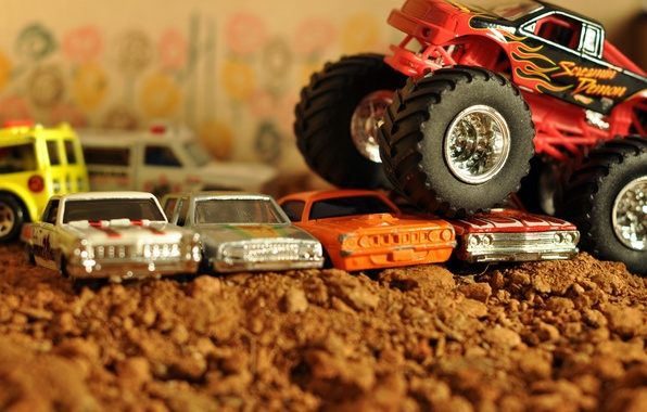 Picture machine, auto, toy, blur, car, car, pickup, 4x4, bokeh, pickup, macro., obstacles, BigFoot, overcomes, old, …