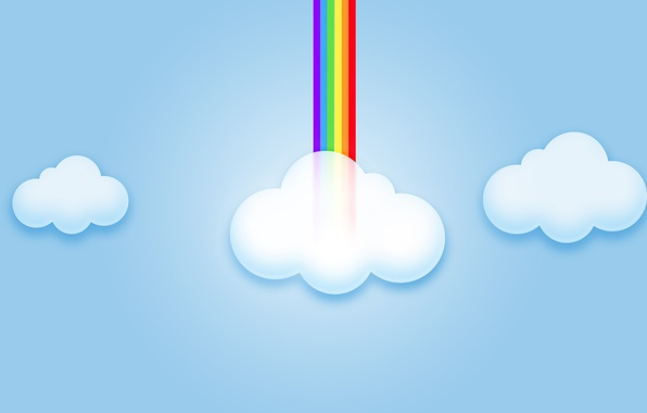 Picture the sky, clouds, rainbow, computer graphics