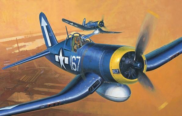 Picture the plane, fighter, art, USA, BBC, deck, WW2., memorial, BIRD CAGE, CORSAIR, F-4U