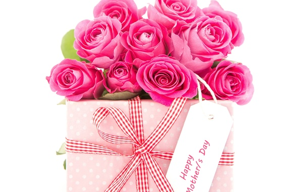 Picture gift, roses, bow, March 8, Roses, gift, Bouquets