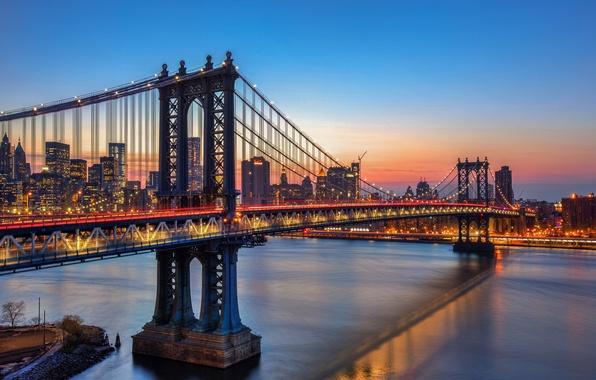 Picture the sky, sunset, lights, reflection, New York, mirror, Manhattan bridge, United States