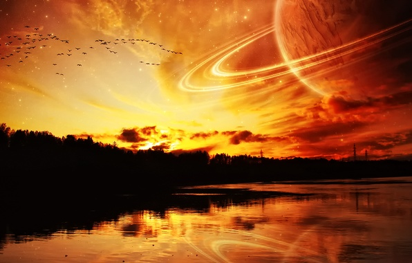 Picture sea, space, river, planet, Wallpaper for desktop
