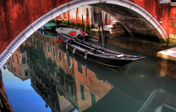Picture water, bridge, reflection, boat, arch