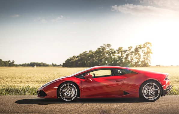 Picture road, field, the sky, the sun, clouds, trees, shadow, Lamborghini, wheel, side, LP 610-4, Hurricane