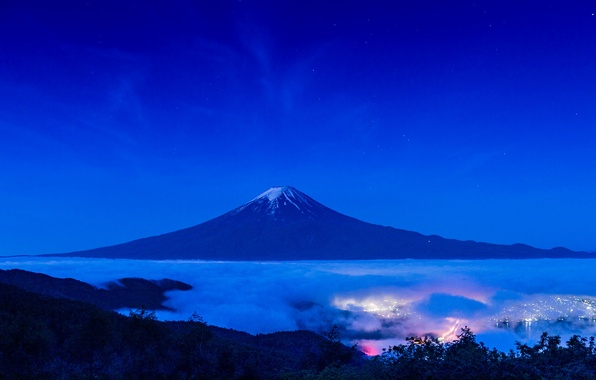 Picture landscape, night, lights, mountain, the volcano, Japan, Fuji