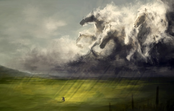 Picture field, girl, clouds, rays, rain, figure, horse, art, the herd