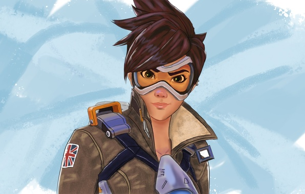 Picture girl, glasses, Blizzard, art, fps, Overwatch, Tracer
