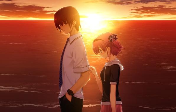 Picture love, sunset, mood, the game, the evening, anime, two, komine sachi, grisa of no kajitsu