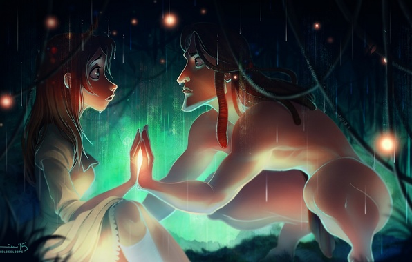 Picture girl, fireflies, rain, art, guy, Tarzan, kelogsloops, tarzan, jane porter