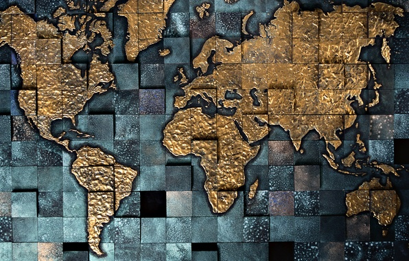 Picture map, continents, the volume, square