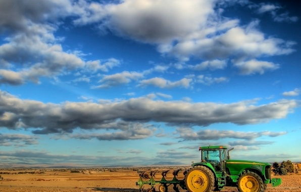 Picture field, Clouds, tractor