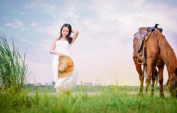 Picture field, grass, face, horse, horse, dress, walk, Asian