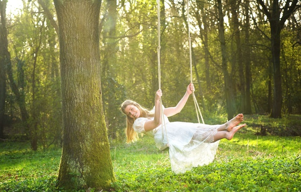Picture greens, grass, girl, trees, nature, smile, background, swing, tree, widescreen, Wallpaper, feet, mood, foliage, rope, ...