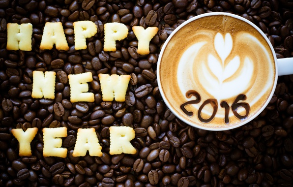Picture New year, New Year, beans, coffee, cookies, decoration, Happy, 2016