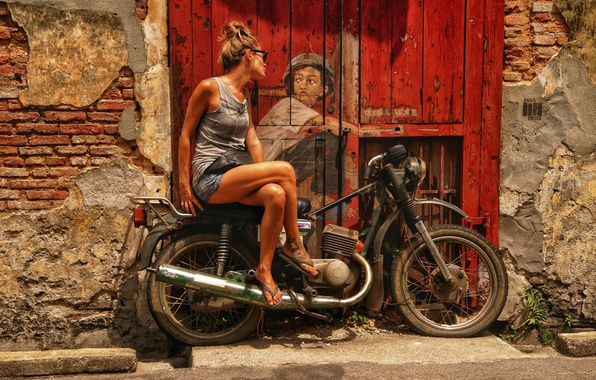 Picture girl, the city, figure, the door, art, motorcycle