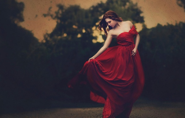 Picture girl, dress, scratches, in red, filter