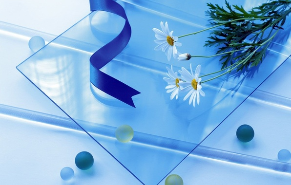 Picture glass, flowers, blue, tape, blue, simple, balls, round, square, long