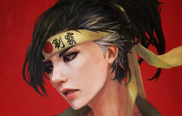 Picture girl, headband, fan art, casual, overwatch, hanzo