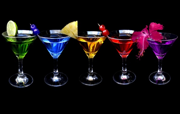 Picture flowers, black background, FRUIT, COCKTAIL