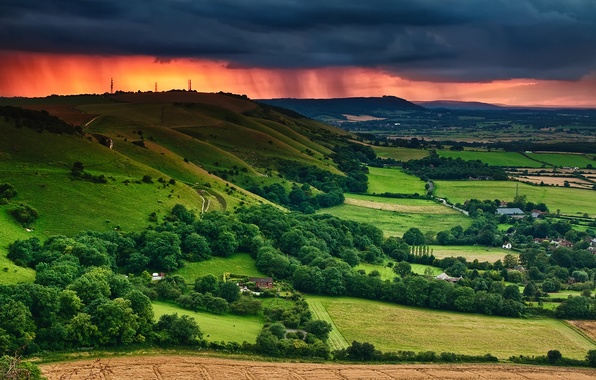 Picture summer, the sky, clouds, trees, sunset, clouds, field, home, valley