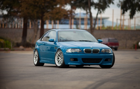 Picture trees, blue, reflection, bmw, BMW, front view, blue, e46