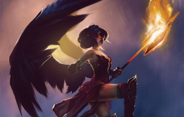 Picture girl, fire, wings, art, in the sky, halberd