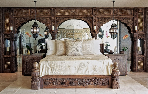 Picture room, bed, pillow, mirror, bedroom, lamps, tables