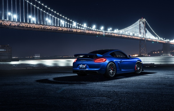 Picture Porsche, Cayman, Car, Blue, Bridge, Night, Sport, GT4, Rear