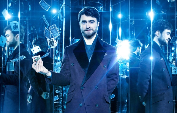 Picture card, light, reflection, blue, scarf, mirror, light bulb, coat, Daniel Radcliffe, Daniel Radcliffe, Now You …