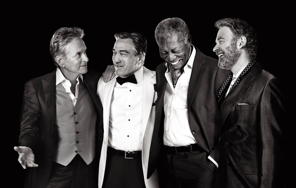 Picture joy, celebrity, laughter, four, black and white, black background, actors, poster, costumes, Morgan Freeman, Morgan ...