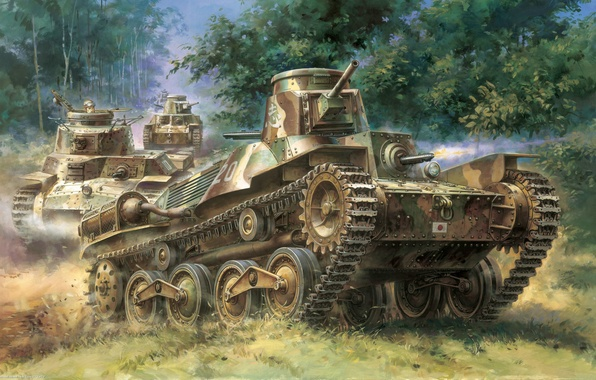 "Picture war, art, tank, Japanese, easy, ""Ha-Go"", type-95, Type 95"